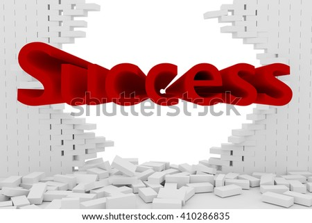 3D rendering Destruction of a white brick wall on white background with red success text - stock photo