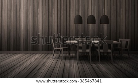 3D Rendering Dinning room with wood table and Chair