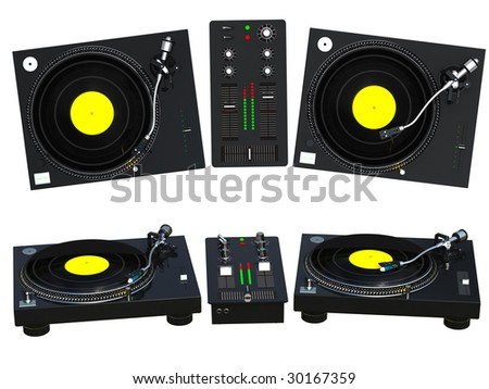 3D rendering DJ mixing set isolated on white background - stock photo