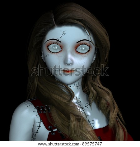 3D Rendering - Doll with scars