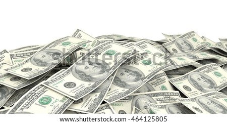 3d rendering 100 dollar banknotes as background