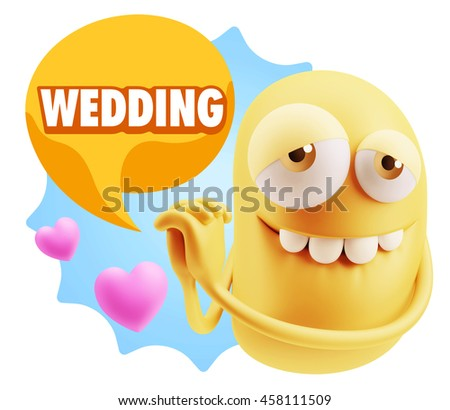 3d Rendering. Emoji saying Wedding with Colorful Speech Bubble.
