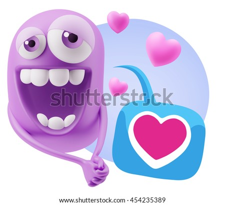 3d Rendering. Emoticon Character Face Expression saying Love with a Heart Shape with Colorful Speech Bubble.
