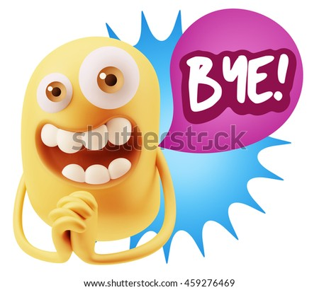 3d Rendering. Emoticon Face saying Bye with Colorful Speech Bubble.