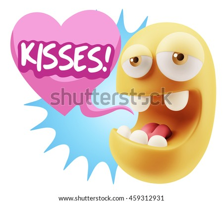 3d Rendering. Emoticon Face saying Kisses with Colorful Speech Bubble.