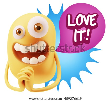 3d Rendering. Emoticon Face saying Love It with Colorful Speech Bubble.