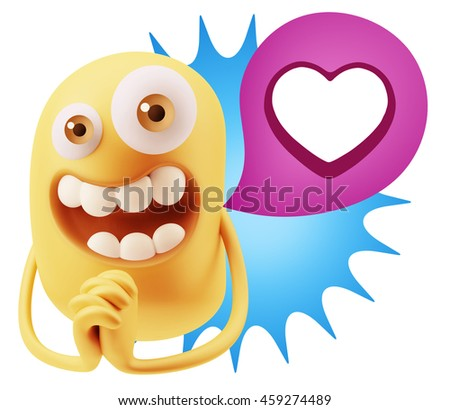 3d Rendering. Emoticon Face saying Love with a Heart Shape with Colorful Speech Bubble.