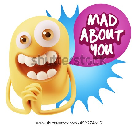 3d Rendering. Emoticon Face saying Mad About You with Colorful Speech Bubble.