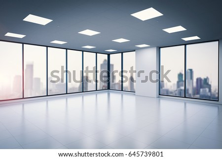 office glass windows. 3d Rendering Empty Office Space With Glass Windows L