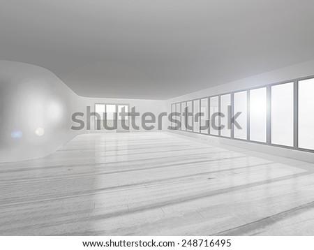 3D rendering.  empty room with big windows - stock photo