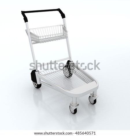 3d rendering empty trolley cart on white background.