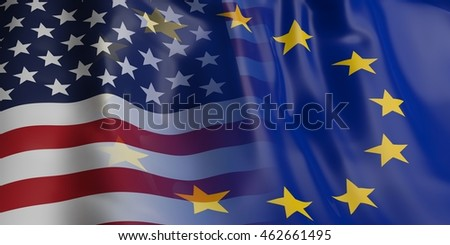 3d rendering EU and USA flag waving