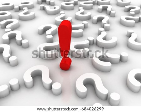 3d rendering exclamation mark with  question mark