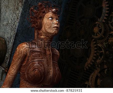 3D Rendering Extraterrestrial female creature - stock photo