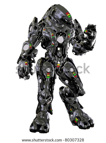 3D rendering fighting robot from the future - stock photo