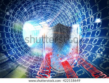 3D rendering firewall internet - stock photo