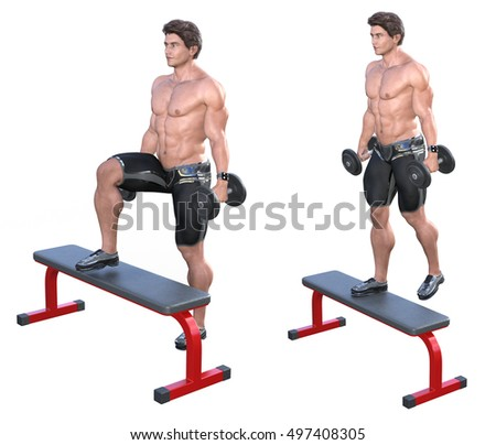 3d rendering fitness model exercising his quadriceps and buttock with climbing on a bench with dumbbells isolated on white. Start and end position.