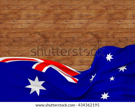 3D rendering Flag of Australia, waving over a background of wooden strips - stock photo