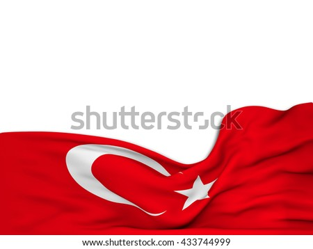 3D rendering Flag of Turkey,waving over a white background