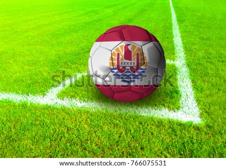 3D rendering football ball with the national flag of French Polynesia ball with Green grass background