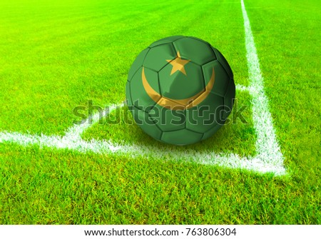 3D rendering football ball with the national flag of Mauritania ball with Green grass background