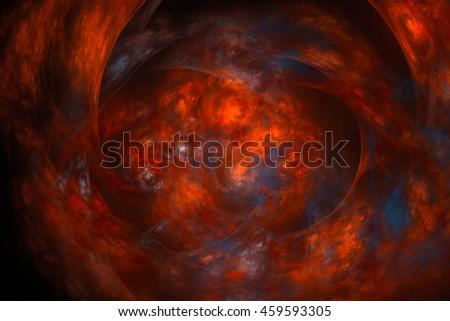 3D rendering fractal nebula background - stock photo