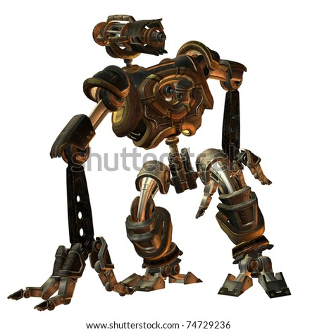 3D Rendering futuristic fighting machine in the steampunk style - stock photo