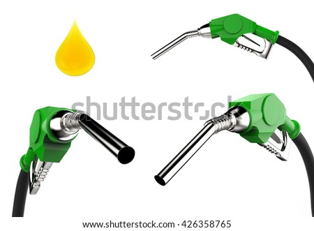3d rendering gas pump nozzle isolated on white - stock photo