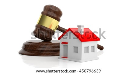 3d rendering gavel auction with a small house
