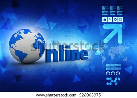 3d rendering Globe with online lettering in color background