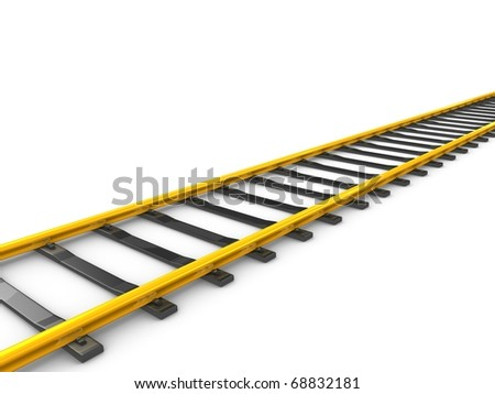 3d rendering Gold railway track, isolated on white background. - stock photo