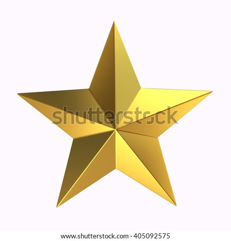 3D Rendering Gold star on white background