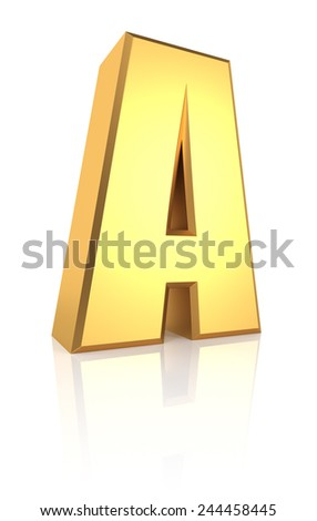 3d rendering golden letter A isolated on white background - stock photo