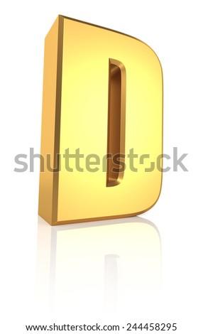 3d rendering golden letter D isolated on white background - stock photo