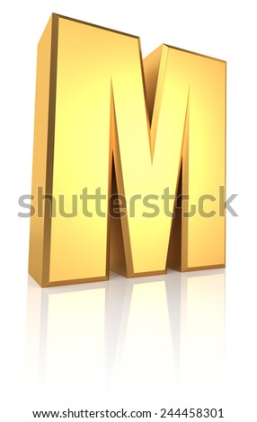 3d rendering golden letter M isolated on white background - stock photo