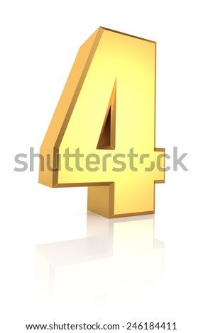 3d rendering golden number 4 isolated on white background - stock photo
