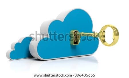 3D rendering Golden retro key in lock on storage cloud icon, isolated on white - stock photo