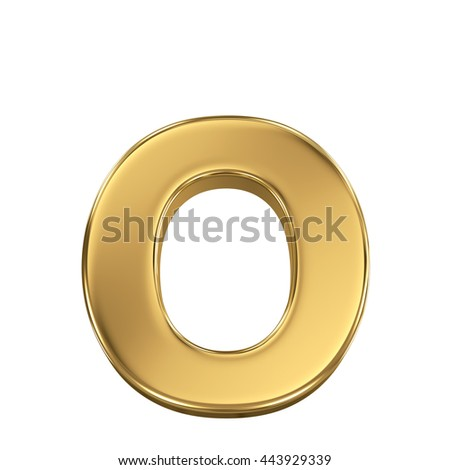 3d rendering, golden shining metallic font, lowercase letter o - isolated on white