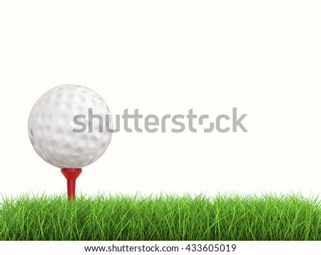 3d rendering golf ball on tee side view