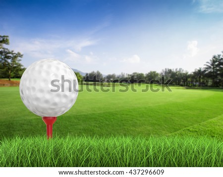 3d rendering golf ball on tee side view - stock photo