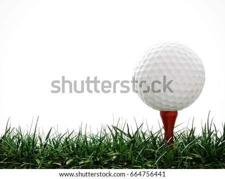 3D Rendering Golf ball with red tee in the grass on white background