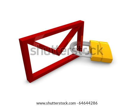 3D rendering, graphic concept email with padlock, isolated over white background. - stock photo