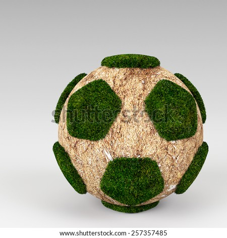 3d rendering Green grass ball - stock photo