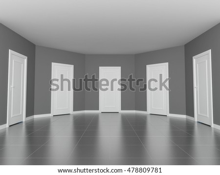 3d rendering grey room with white doors