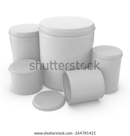 3d rendering group of jars containers