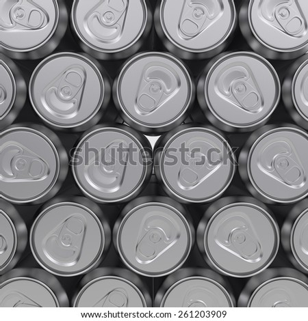 3d rendering group of tin drinking containers background - stock photo