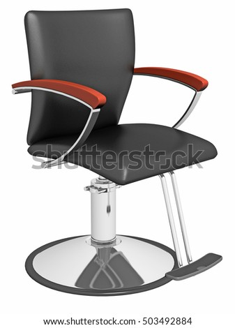 3d Rendering Hairdresser Leather Armchair With Chrome Feet Isolated On White