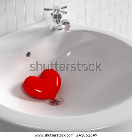 3d rendering Heart in the basin. - stock photo