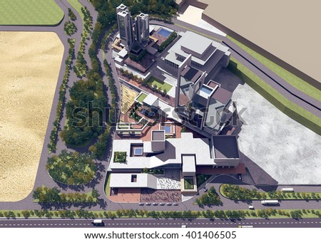 3d rendering - Hotel and administrative complex - General view - stock photo