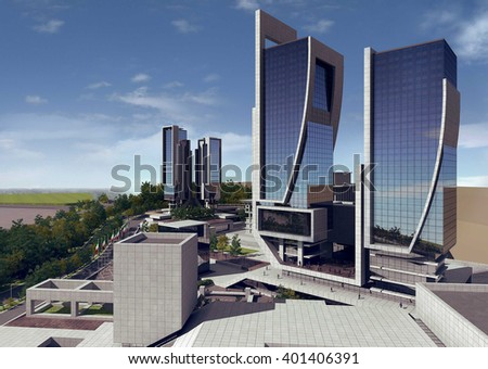 3d rendering - Hotel and administrative complex - Headquarter - stock photo